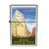 Wind Proof Dual Torch Refillable Lighter Vintage Poster D-049 1930s Vintage Zion National Park Ranger Naturist Service
