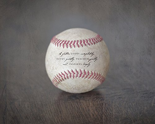 Dad Baseball (Baseball Sports Art Photography Print with Father Quote, Unique Home Decor Gift for Dad from Kids)