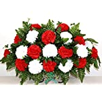 Beautiful-XL-Valentines-Day-Red-w-White-Carnation-Cemetery-Tombstone-Headstone-Saddle