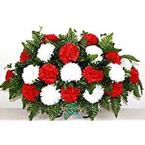 Beautiful XL Valentine's Day Red w White Carnation Cemetery Tombstone Headstone Saddle 12