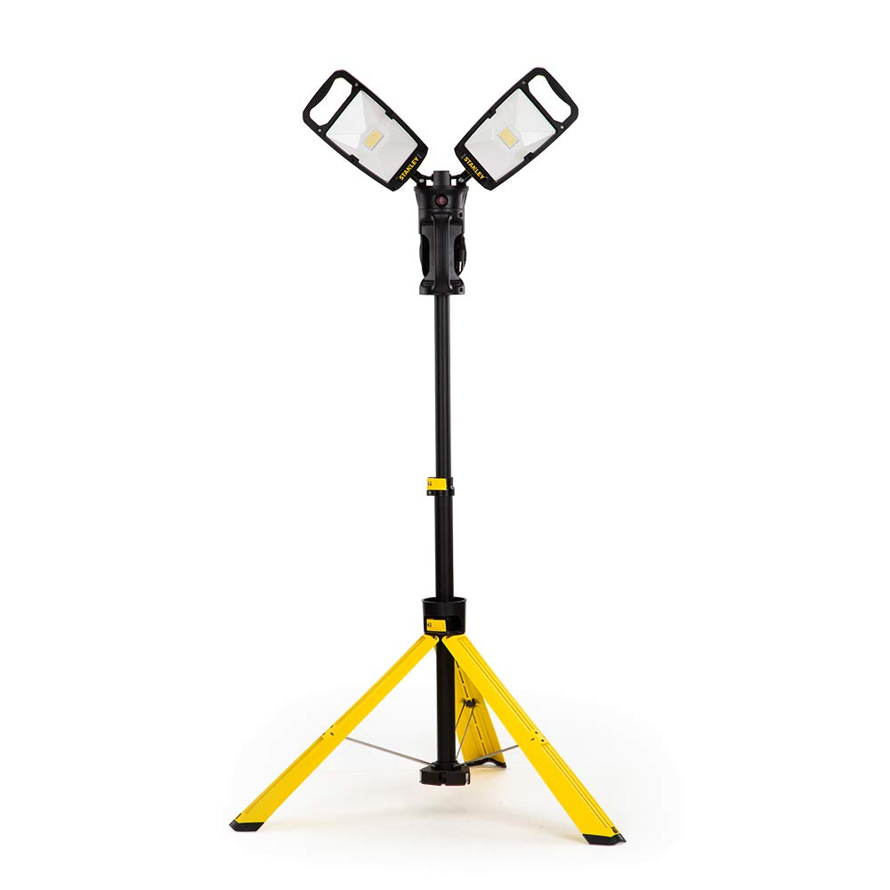 Stanley Led Work Light with Stand 7000-Lumen Portable Corded LED Portable Job Site Lighting 4000K 80W Indoor Outdoor Lighting