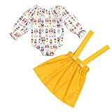 BELS Newborn Baby Girls Suspenders Skirt Set Sunflower Romper + Yellow Dress Outfit(Yellow1,12-18 Months)