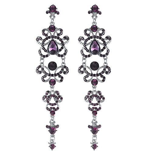 Chandelier Purple Earrings (mecresh Bridal Purple Long Teardrop Chandelier Earrings,Linked Earrings for Women Brides Bridesmaids)