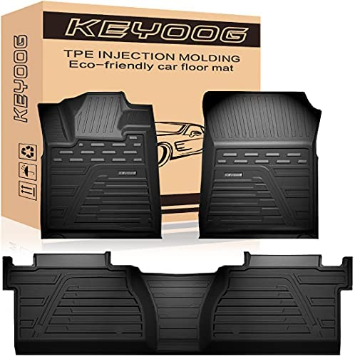 KEYOOG Car Floor Mats Black TPE Special All-Weather Automotive Mat Interior Accessories Includes 1st and 2nd Row, Compatible for 2014-2021 Toyota Tundra 4-Doors Double Cab and Crew Max Cab