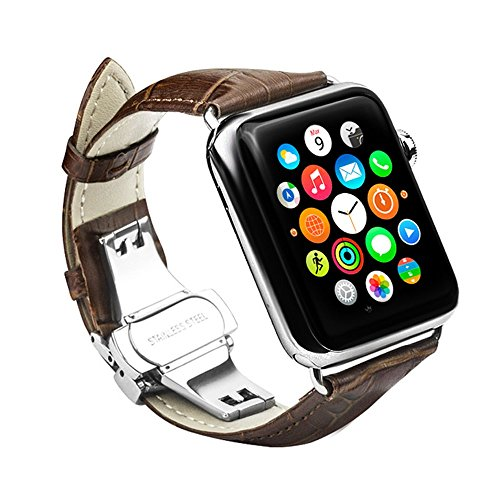 Apple Watch Band iWatch Strap Genuine Leather Band Stainless Steel Butterfly Pushbutton Deployment Buckle Classic and Elegant For all 42mm models Be iWatch Series 1 / Series 2 (Dark Brown) (Dark Brown Leather Buckle)