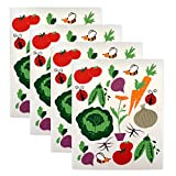 DII Swedish Dishcloths, 100% Natural Cellulose 7.75 x 6.75'' Set of 4, Reusable, Dishwasher and Microwave Safe, Environmentally Friendly Dish cloths - Veggies