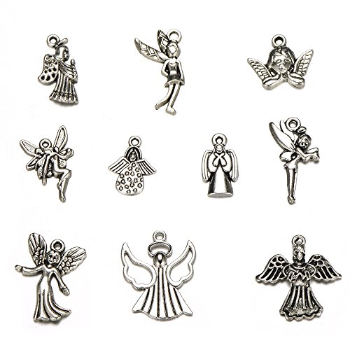 30pcs Mixed Tibetan Silver Plated Girl Angel Fairy Charms Pendants Jewelry Making DIY Charm Crafts Handmade (Angel Fairy)