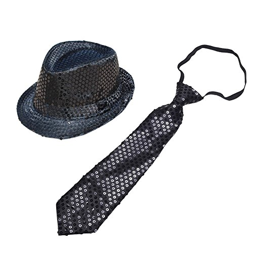 MaiYi Sequin Jazz Fedora Hat and Necktie Set Fancy Dress Party Costume Accessory - Adult & Kids Adult Black Sequin Fedora