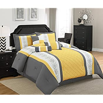 Amazon Com Legacy Decor 5 Pc Grey Yellow And White