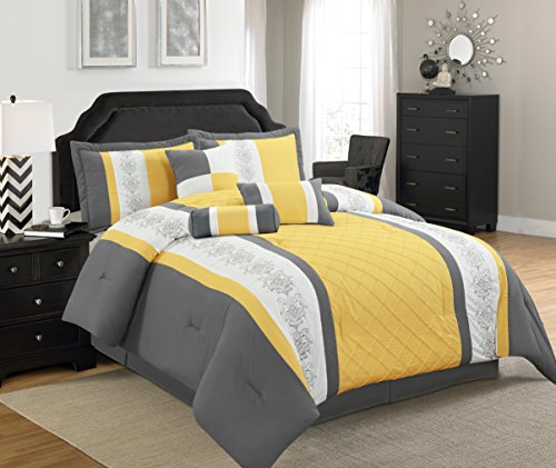 Legacy California King Comforter (Legacy Decor 7 Pc Grey, Yellow and White Striped Comforter Set with Embroidered Design, Cal King Size)
