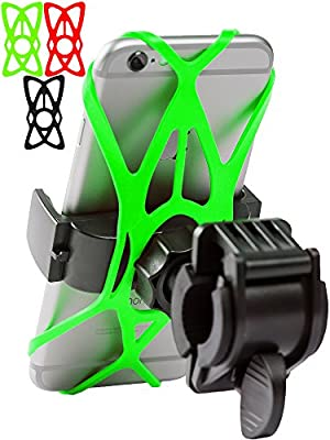 Bike Phone Mount for any Smart Phone: iPhone X 8 7 6 5 plus Samsung Galaxy S9 S8 S7 S7 S6 S5 S4 Edge, Nexus, Nokia, LG. Motorcycle, Bicycle Phone Mount. Mountain Bike Mount. Bike Accessories. from Mongoora