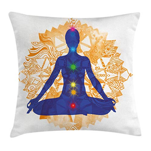 "Ambesonne Chakra Throw Pillow Cushion Cover, Silhouette of a Body in Yoga Lotus Position with Chakra Meditation Yoga Pattern, Decorative Square Accent Pillow Case, 16"" X 16"", Orange Blue"