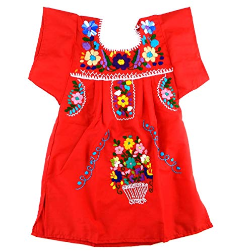 Mexican Infant Dress Red Size 1 Tehuacan Dress Day of The Dead Coco Theme Party Halloween Party ()
