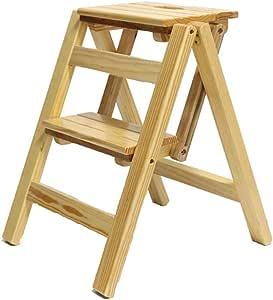Yuhao - Taburete Plegable de 2 peldaños de Madera de Pino para escaleras, Escalera, Estante de Flores, Zapatero, 38 46 50 cm: Amazon.es: Hogar