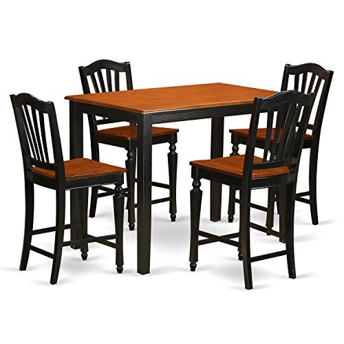 East West Furniture YACH5-BLK-W 5 Piece Counter Height Table and 4 Kitchen Chairs Set