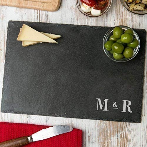 (Personalized Slate Rectangle Chopping Board/Initial Gifts for Couples/House Warming Presents/Unique Engagement Gifts/Slate Place Mats)