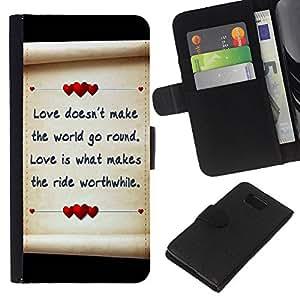 All Phone Most Case / Oferta Especial Cáscara Funda de cuero Monedero Cubierta de proteccion Caso / Wallet Case for Samsung ALPHA G850 // Love Letter Hearts Paper Black Parchment