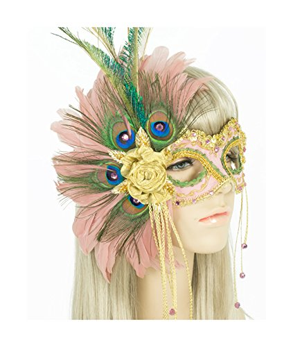 Handmade in USA Masquerade Mask with Peacock Feathers and Crystals (Pink) by Largemouth