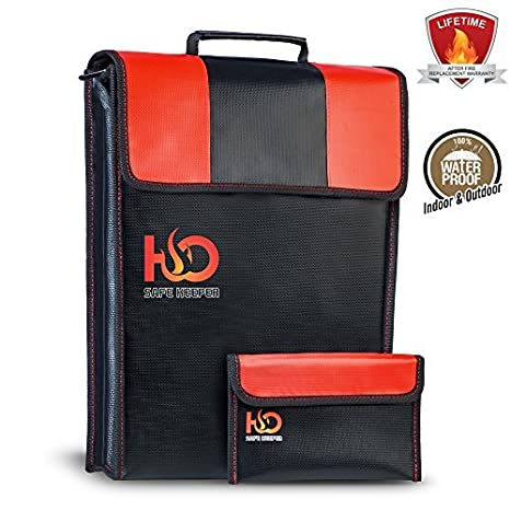 Amazon.com: H & O Safe Keeper Fireproof dinero bolsa para ...