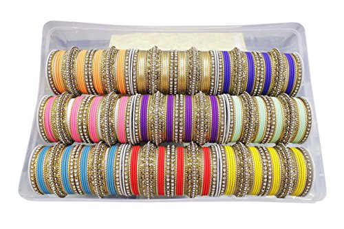 MUCHMORE Awesome Bollywood Fashion Indian Bangles Box Multi Color Party wear Bangles Jewelry (2.8) by Muchmore