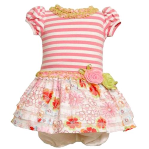 Bonnie Jean BABY 12M-24M PINK WHITE EYELASH RUFFLE STRIPE KNIT FLORAL DRESS