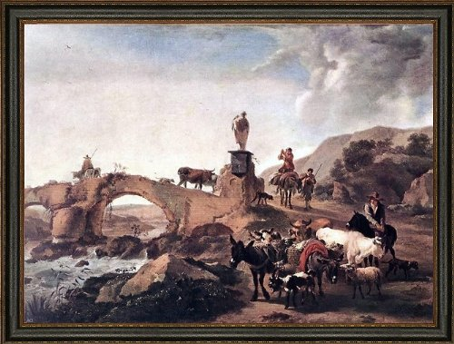 Art Oyster Nicolaes Berchem Italian Landscape with Bridge - 21.05