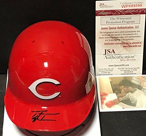 Taylor Trammell Cincinnati Reds Autographed Signed Mini Helmet JSA WITNESS COA Cincinnati Reds Autographed Mini Helmet