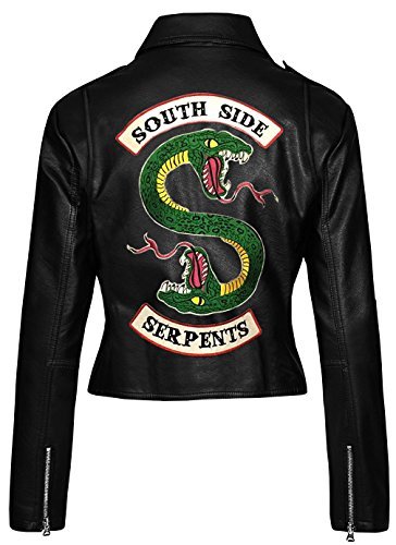 a4362cff9 LP-FACON Womens Riverdale Southside Serpents Snake Logo Slim Fit Biker  Black Faux Leather Jacket