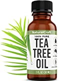 Naturalcraft 100% Pure Tea Tree Essential Oil - Antifungal, Antibacterial for Face Skin Hair Nails - Helps with Nail Fungus Acne Psoriasis Dandruff Piercings Cuts Bug Bites