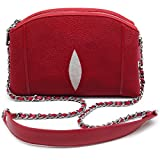 Stingray Genuine Leather Cross Body Shoulder Bag Woman Fuction Style Size 24 x 16 x 7 cm. (Red)