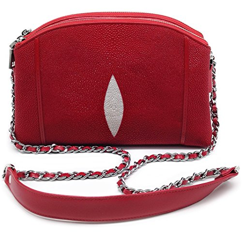 Stingray Genuine Leather Cross Body Shoulder Bag Woman Fuction Style Size 24 x 16 x 7 cm. (Red) by Treasure