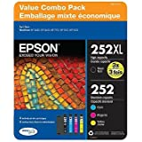 Epson 252XL DURABrite Ultra Ink Cartridge Value Combo Pack (4 Cartridges) - 1 High Capacity Black, 1 Standard Capacity Cyan, 1 Standard Capacity Magenta, 1 Standard Capacity Yellow