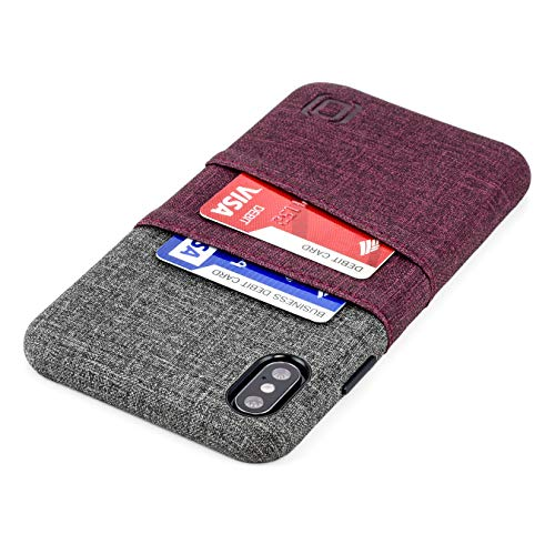 Dockem Luxe M2 Wallet Case for iPhone Xs Max: Built-in Invisible Metal Plate, Designed for Magnetic Mounting: Slim Canvas Style Synthetic Leather Card Case: M-Series [Maroon and Grey]