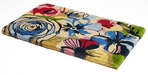 Handwoven, Extra Thick Doormat | Durable Coir, Easy Clean, Stylish | Entryway Door mat for Patio, Front Door | Decorative All-Season | Watercolor Floral | 18 x 30 x 1.60