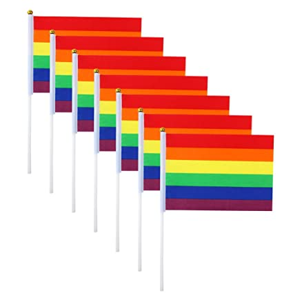 Amazon Com Codohi Rainbow Gay Pride Flag Mini Lgbt Hand Held Stick