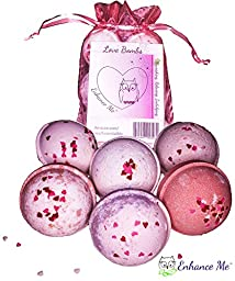 Love & Hearts Bath Bombs Gift Set, Organic Palm Oil, Handmade in USA with Lush Shea Butter and Coconut Oil by Enhance Me
