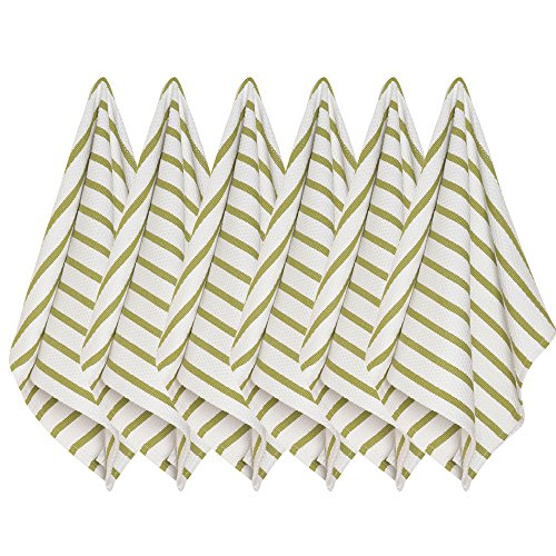 Green Basketweave (Now Designs Basketweave Kitchen Towel, Set of Six, Cactus Green)