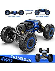 BEZGAR 16 Remote Control Car, Boys RC Buggy Truck 4WD Off Road All Terrains 1:14 Scale Hobby Toy Racing Transform Vehicles Outdoor for Kids and Adults (Blue)