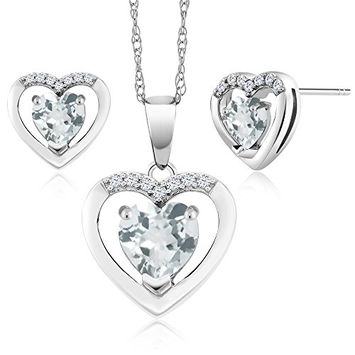10K White Gold 1.38 Ct Heart Sky Blue Aquamarine & Diamond Pendant Earrings Set by Gem Stone King (Image #3)
