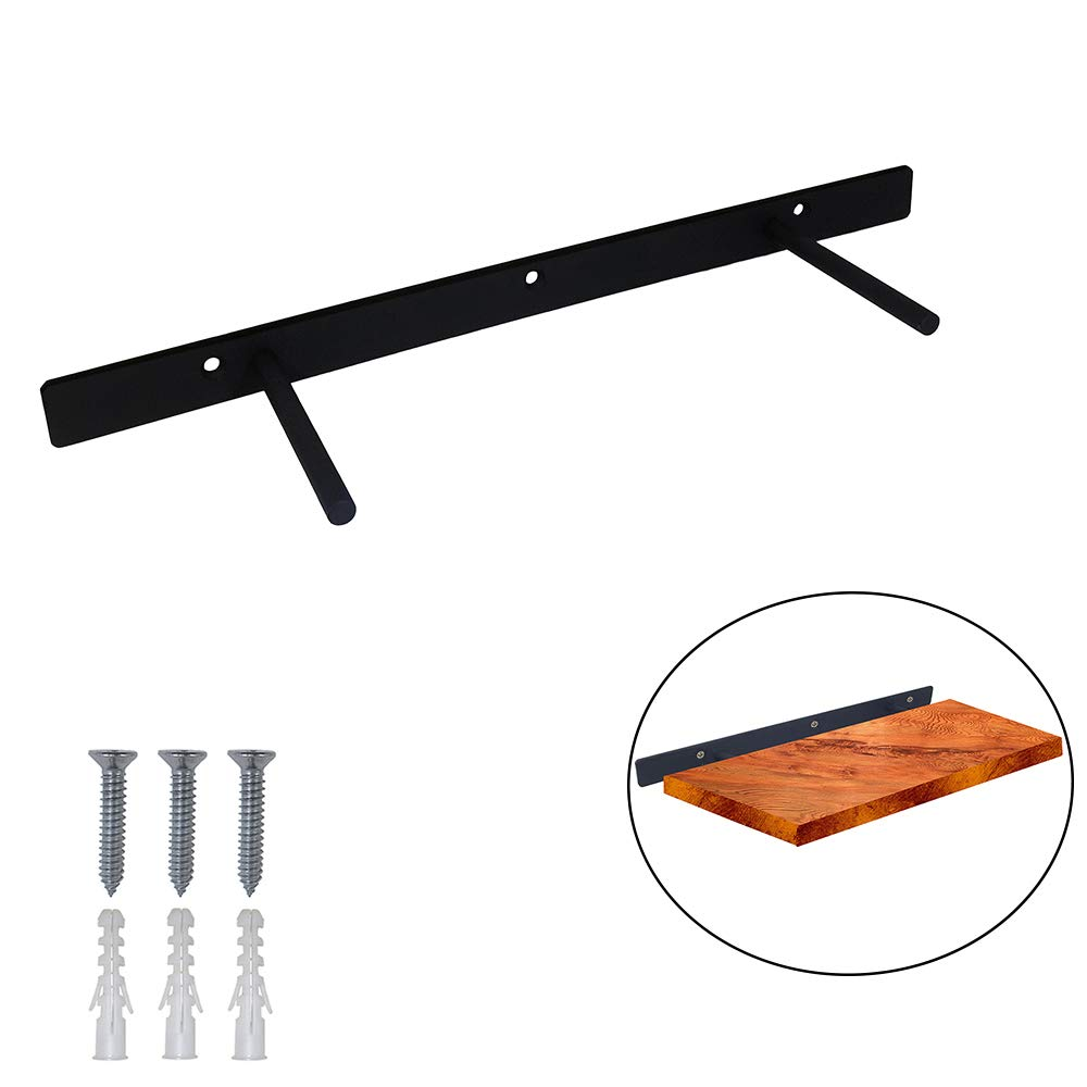 FRMSAET 24'' Heavy Duty Wall Floating Shelf Bracket Space Saver Steel Invisible Hidden Wooden Shelf Supports Hardware - Screws and Wall Plugs Included (Black)