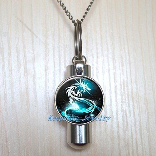 Blue Dragon Urn Cremation Necklace Locket, Perfume Vial, Ashes Locket, Silver Blue Dragon Cremation Locket, Silver Ashes Locket, Memorial Locket