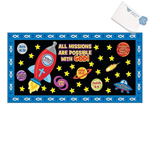 Paper Mission of Faith Bulletin Board Set (With Sticky Notes) by Bargain World