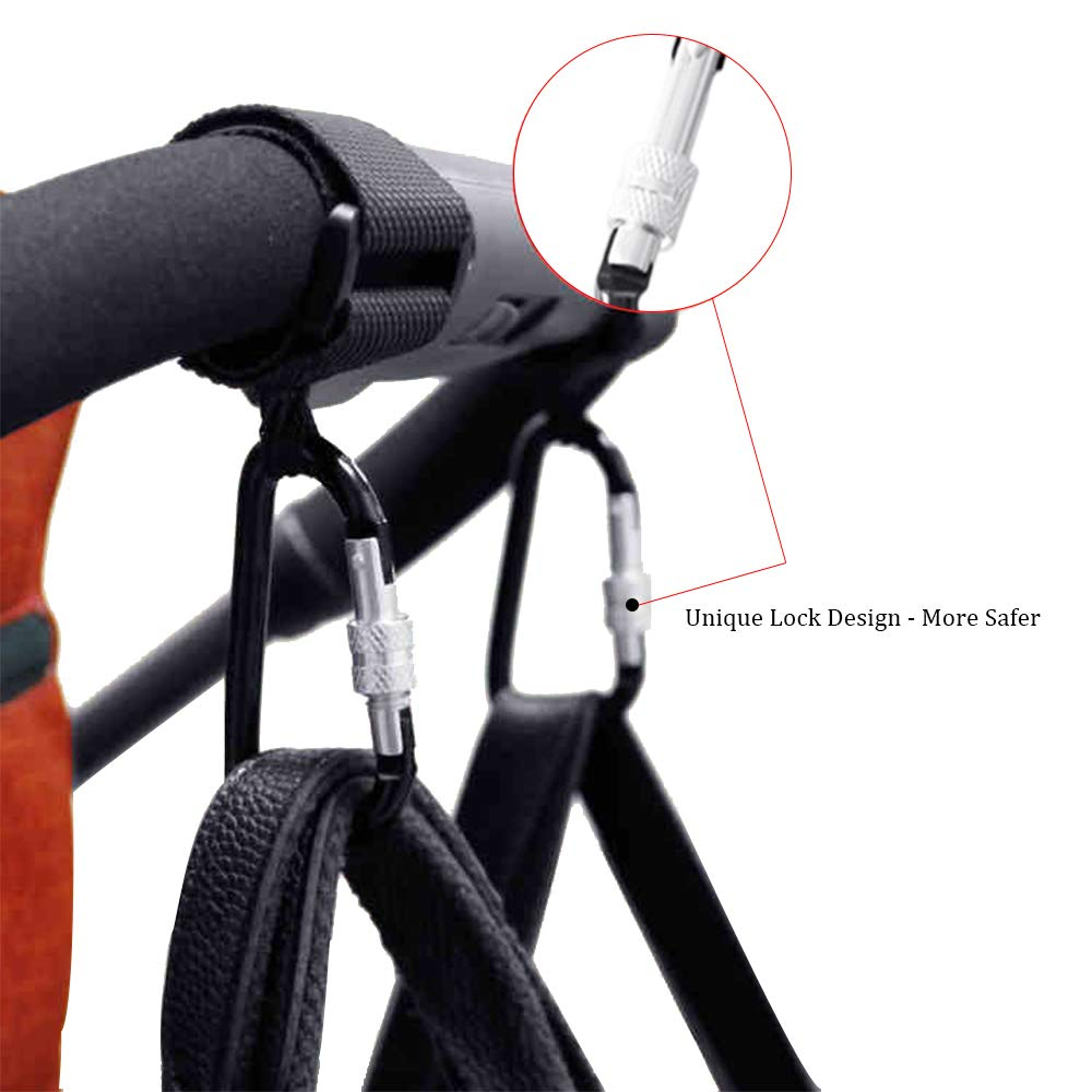 Purse Anti-Slip Strap 1 Pack Black Clothing Baby Stroller Hooks for Shopping Bags with Safety Lock| Organizer Clip-Hanger for Mommy Heavy Duty Load Capacity of 40kg| for Diaper Bags Groceries