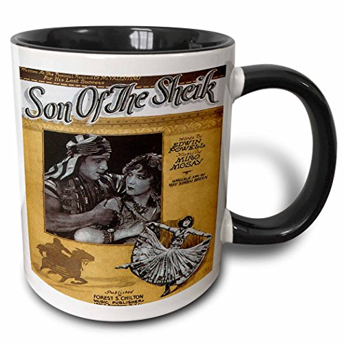 3dRose BLN Vintage Song Sheet Covers Reproductions - Son of the Sheik by Edwin Powell and Miro Mosay - 15oz Two-Tone Black Mug (mug_169959_9)