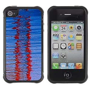 """Pulsar iFace Series Tpu silicona Carcasa Funda Case para Apple iPhone 4 / iPhone 4S , Cristal Red Winter Refracción Modelo azul"""""""