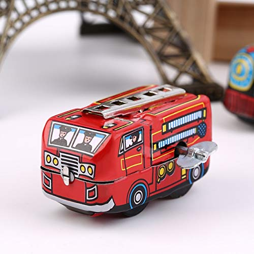 DishyKooker Retro Classic Firefighter Fire Engine Truck Clockwork Wind Up Tin Toys Educational Funny Toys New Hot Red
