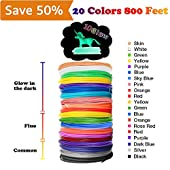 3D Pen/3D Printer Filament(16 Colors, 320 Feet) Bonus 250 Stencils eBooks 3D Pen Filament 1.75mm PLA