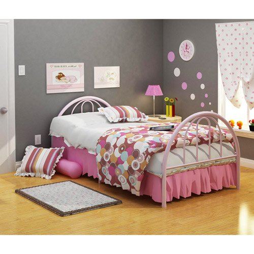 Metal Twin Bed in Pink, Headboard, Footboard, Bedding, Full Slat Mattress Support, Steel Construction, Contemporary Design, Kid's Room, Bundle with Our Expert Guide with Tips for Home Arrangement ()
