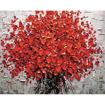 Decorative Painting Single Paintings - 40X50CM Frameless Abstract Red Petals Tree Canvas Linen Canvas Oil Painting Paint By Numbers - 1 x 40X50CM Frameless Canvas Painting DIY (Petals Oil Painting)