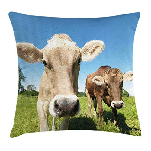 HFYZT Farm Animal Throw Pillow Cushion Cover, Close Up Sweet Photo of Cows at Meadow in a with Open Sky, Decorative Square Accent Pillow Case, 18 X 18 Inches, Apple Green Tan Sky Blue Caramel